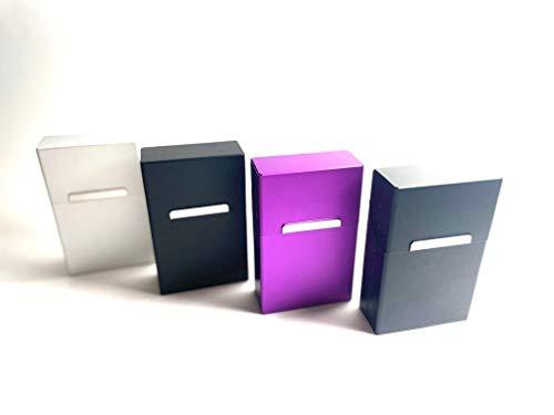 kogu Juego de 4 cajas de cigarrillos de aluminio para 20 cigarrillos – coloridas pitilleras de aluminio sin puente