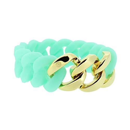 Hanse-Klunker Armband Damen ORIGINAL Silikon Türkis, Edelstahl Gold Armreif Armkette Frauen Mädchen Größe 19-20 cm inkl. Schmuck-Geschenk-Box