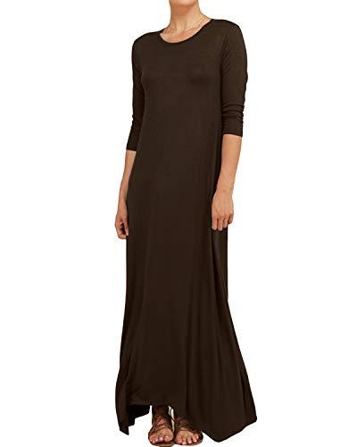 YOINS Maxikleid Damen Rundhals Strickkleider Kleider Baggy Kleid Fest Tasche Lose 3/4 Ärmel Langes Kleider für Damen Nachtkleid Kaffee XL