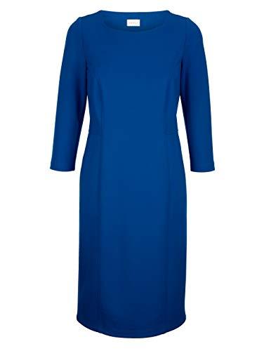MONA Damen Tailliertes Knielang Kleid mit 3/4-Ärmel in Royalblau aus Viskose