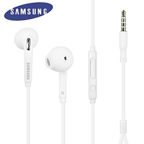 Auriculares estéreo originales Samsung blancos para Galaxy S6 - Con botón de respuesta y control de volumen - EO-EG920BWEGWW