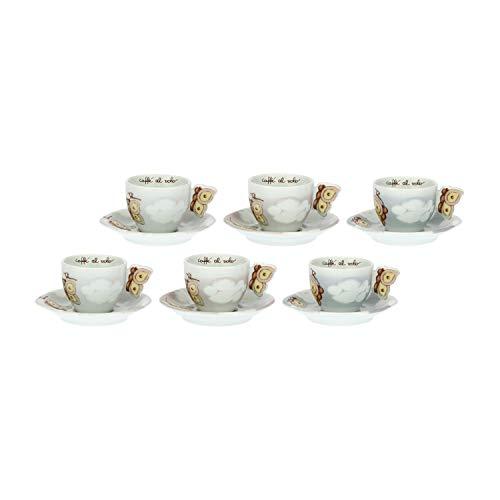 THUN ® - Set 6 Tazzine caffè Linea Pioggia di Colori - Porcellana - 60 ml - ø 6,5 cm