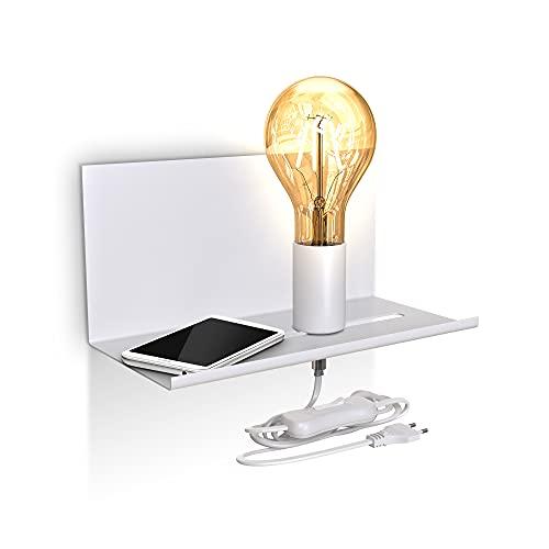 B.K.Licht I Lámpara de pared ajustable con estante I Interruptor de cable I Blanco mate I 1 llama I E27 I Lámpara de pared retro