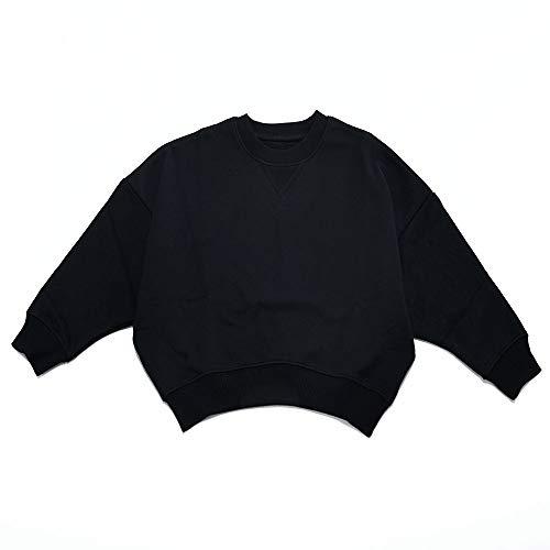 Plus Nao(プラスナオ) トレーナー ビッグシルエット オーバーサイズ 長袖 プルオーバー スウェット 裏毛 ドルマンスリーブ 子供服 キッズ ブラック 130cm