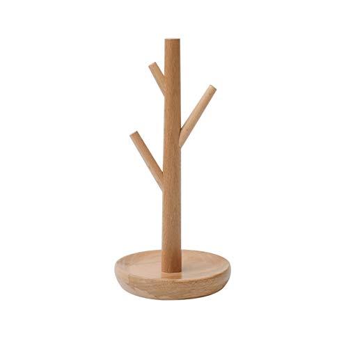 Jewelry Organizer Rack de árboles de joyería para collares, pulseras, brazaletes y anillos de joyería de madera Soporte de mesa Tapa para colgar para la joyería y exhibición, color natural Pendientes