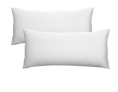 Biberna 0077144 jersey-kussenhoezen van 100% katoen met ritssluiting, 2-pack, 40 x 80 cm wit, 27 x 18 x 3 cm