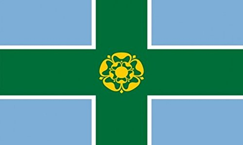 Derbyshire Flag 3ft x 2ft Medium - 100% Polyester - Metal Eyelets - Double Stitched by Perfectflags