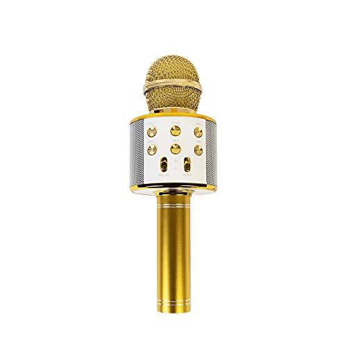 COSMOLINO Karaoke USB Mikrofon, Bluetooth Mikrofon Kinder, Karaoke Microphon mit Lautsprecher Aufnahme für Erwachsene und Kinder (Gold)