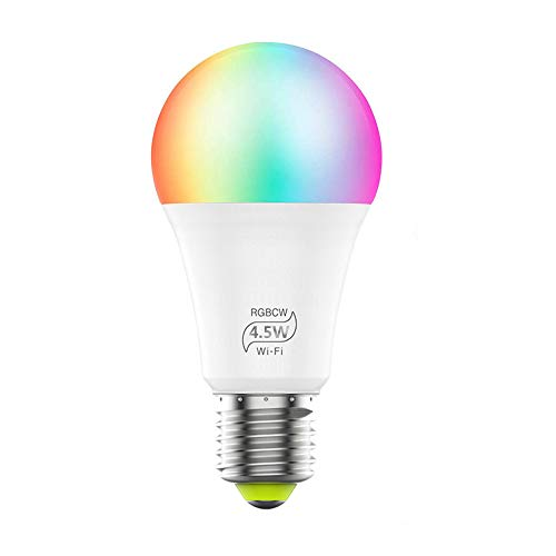 Aubess Intelligente LED-Glühbirne kompatibel ALEXA, Google Home WiFi-Licht von tragbaren Smartphone-Geräten Kommt Farbe Ändern RGB 4,5 W(entspricht 40 W) (E27 LED-Lampe)