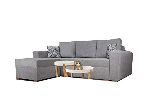 PM Ecksofa Schlaffunktion Bettfunktion Couch L-Form Polstergarnitur Wohnlandschaft Polstersofa mit Ottomane Couchgranitur - Vegas (Grau, Ecksofa Links)