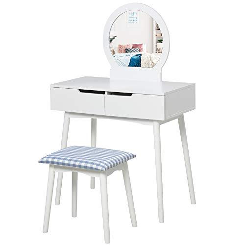 HOMCOM Dressing Table & Stool Set w/Drawers Mirror Modern Elegant Vanity Makeup Padded Seat Home Bedroom Beauty Furniture White