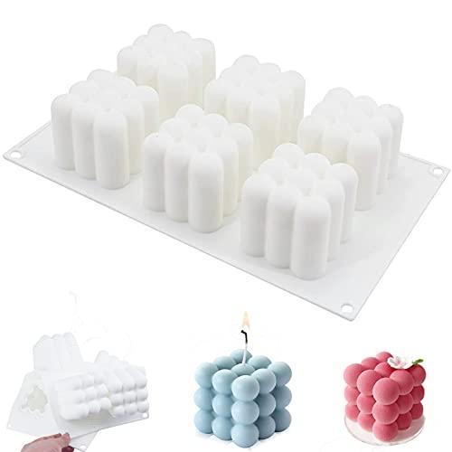 Molde de Vela Silicona,Molde de Vela Cubo,3D Cube Vela Moldes,para Artesanía Adornos Pastel jabón Velas Chocolate,Molde Vela de Bricolaje