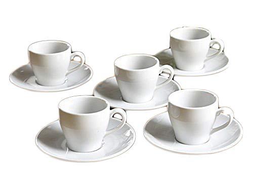 【白い食器】高級白磁WorldPorcelainフォーマルエスプレッソデミタスカップ&ソーサー5客セット