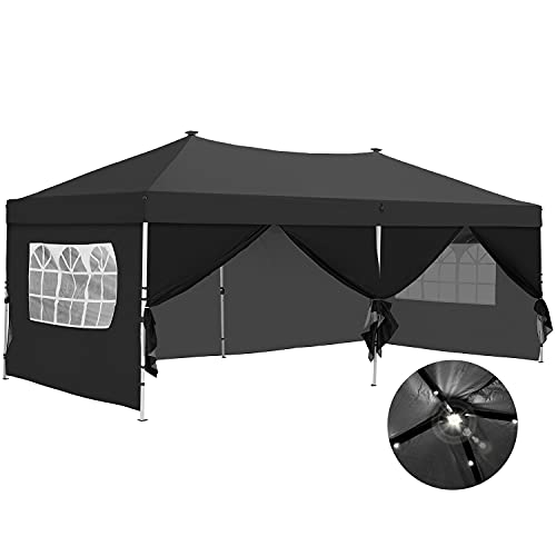 10x20 Pop up Canopy Solar Power Led Light Party Wedding Gazebo Tent with Removable Sidewalls Black