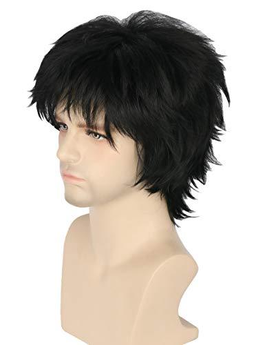 Topcosplay Unisex Anime Cosplay Wigs Balck Short Wig Layered Fluffy Halloween Costume Wig
