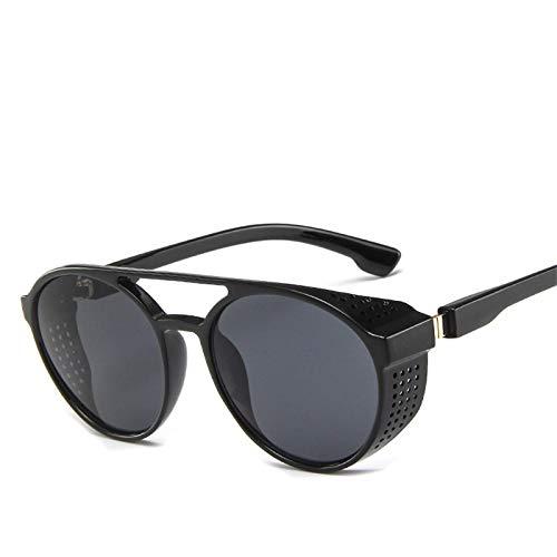 Moda Gafas De Sol Steampunk Redondas Vintage para Hombre, Gafas Clásicas De Diseñador De Marca, Gafas De Sol para Conducción De Coche, Uv400 Brightblack