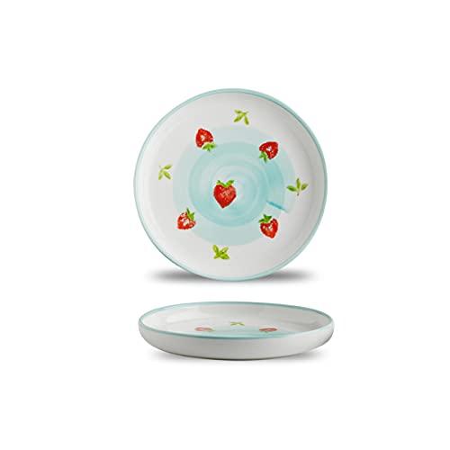 MHUI Plato de Cena de 2 Piezas con diseño de Fresa, vajilla Multicolor, vajilla de Porcelana de Estilo marroquí, Plato para Cena/Ensalada/Fruta/refrigerio,Azul,7.5in