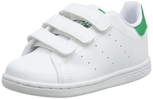 adidas Stan Smith CF, Sneaker, Footwear White/Footwear White/Green, 33 EU