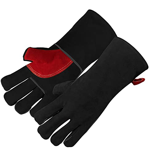 Grilland 662℉ Mig Welding Gloves Kevlar Stitching Heat and Cut Resistant Leather Gloves, Long Sleeve Mitts Fit for Stove, Fireplace, Oven, Furnace, Pot Holder, Warehouse (16 Inches, Black-Red)