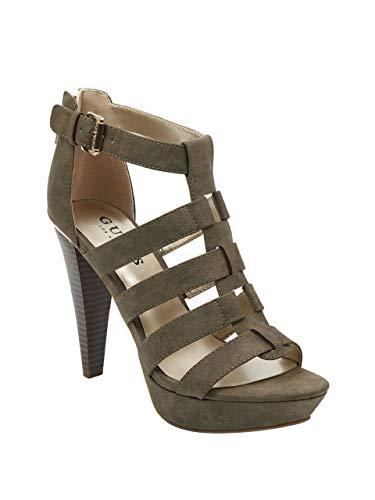 GUESS Factory Women's Nancee Gladiator Platform Heels Dark Green