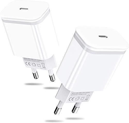 AXIULOO Chargeur USB C 20W, Adaptateur Secteur Alimentation 2-Pack Rapide Prise Chargeur Alimentation Rapide Charge Compatible pour Phone 12 Pro / 12 Pro Max / 12 Mini / 12/11, AirPods Pro, Pad Pro