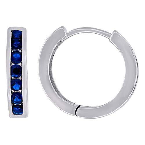 Pendientes de aro de plata de ley 925 con circonita cúbica azul y circonita cúbica de imitación de diamante de una sola fila, medidas de 14 x 15,2 mm, regalo para mujer