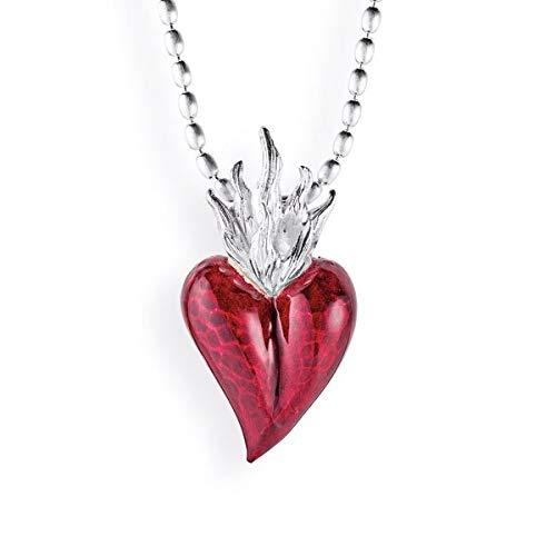 Drachenfels Herz-Anhänger in Echtsilber   Kollektion Flammeninferno   Anhänger aus 925 Sterling Silber   Ausgefallener Herzanhänger für Halskette   D IN 31-1/AG