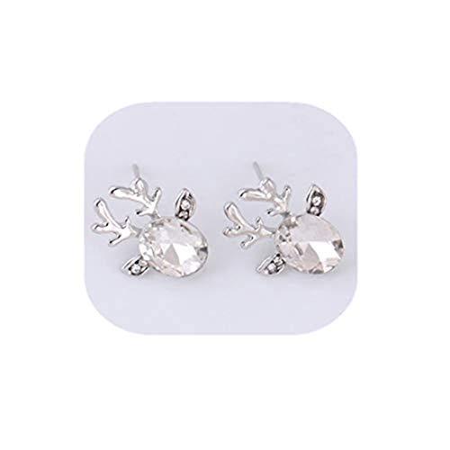 yichahu Pendientes de cristal de cuerno, de lujo, tres dimensiones, para mujer, diseño de reno, color blanco
