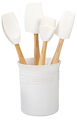 Le Creuset Silicone Craft Series Utensil Set with Stoneware Crock, 5 pc., White