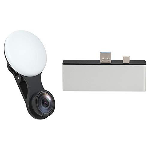 Timagebreze USB 3.0 HUB for Surface Pro Expansion Dock 4K HDMI with Universal Light Selfie Mobile Phone Lens Black