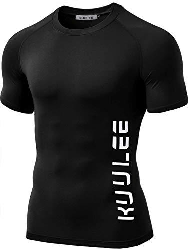 Kuulee Fitness T-Shirt Herren Kurzarm Shirt Funktionelle Sport Bekleidung Passform Slim-Fit für Gym, Workout, Training (Verpackung MEHRWEG)