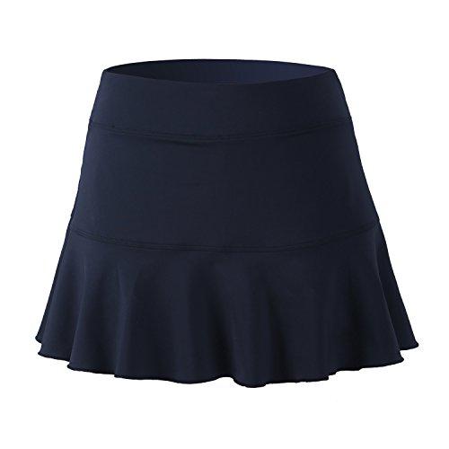 32e-SANERYI Women's Basic Elastic Tennis Skirt with Shorts Golf Skort(sk25,S,Black)