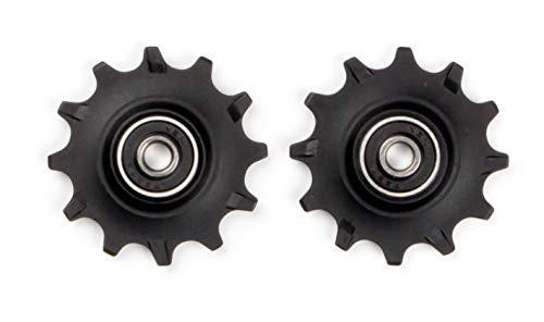 Elvedes 1 Kit de Galets de derailleur Narrow/Wide 2 x 12 Dents roulements annulaires INOX ABEC 7 Cycle Mixte Adulte, Noir, 11vitesses