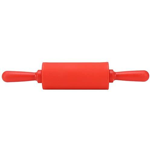 Rodillo de silicona antiadherente, rodillo de silicona seguro, herramienta para hornear con rodillo de masa de pastelería con mango de plástico para cocina casera (rojo)