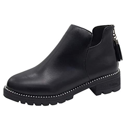 KonJin Damen Chelsea Ankle Boots Stiefeletten mit Blockabsatz Plateau Stiefeletten Rutschfeste...