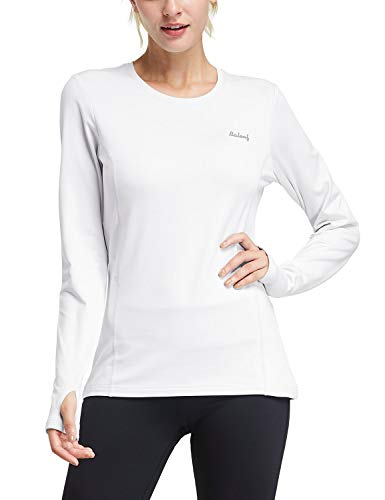BALEAF Women's Thermal Fleece Tops Long Sleeve Running t-Shirt with Thumbholes Zipper Pocket White Size M