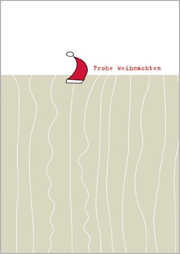 Helga Bühler 5 stuks designer kerstkaart met rode muts wenst Vrolijk Kerstmis • Kerstmis felicitaties in set met enveloppen voor jaarwisseling voor familie, vrienden, collega's van de firma