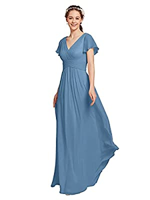 AW BRIDAL Chiffon Dusty Blue Bridesmaid Dress with Sleeves V-Neck Maxi Dresses for Women Party Wedding Evening Gowns, US12