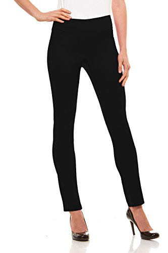 Velucci Womens Straight Leg Dress Pants - Stretch Slim Fit Pull On Style Black