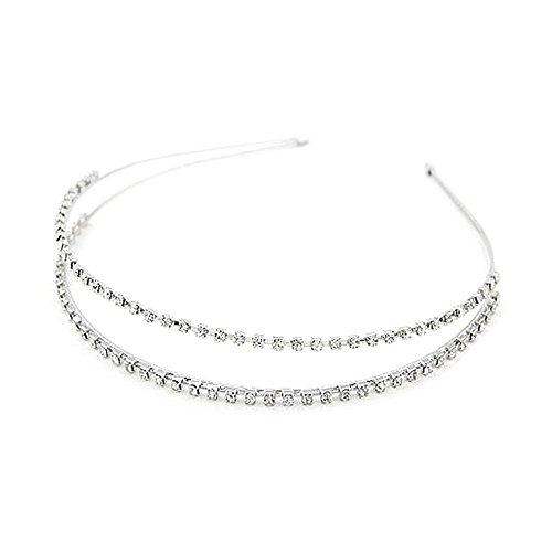 Doitsa 1 Stück Haarband Stirnband Charming Haarreif zweireihig Strass Kopfband Kostüm Accessories für Frauen und Mädchen (Silber)