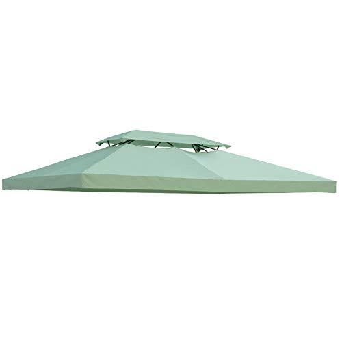 Outsunny Toile de Rechange pour pavillon tonnelle Tente 3 x 4 m Polyester Haute densité 180 g/m² Vert