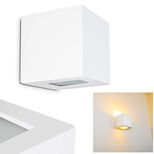 Wandlampe Noto aus Keramik in Weiß, Wandleuchte mit Up & Down-Effekt, 1 x E27-Fassung, max. 60 Watt, Innenwandleuchte mit handelsüblichen Farben bemalbar, geeignet für LED Leuchtmittel