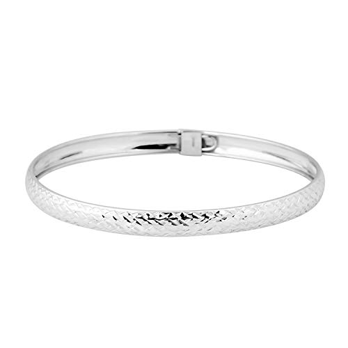 TJC Silver Designer Bangle for Women Shinny 925 Sterling Stamped Perfect Gift for all Occassions Size 8 Inches