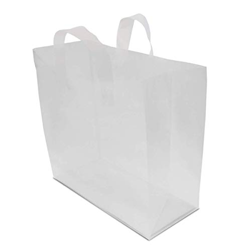 16x6x12' 100 Pcs. Large Frosted Clear Plastic Gift Bags with Handles, Shopping Bags, Take Out Bags with Cardboard Bottom, Bags in Bulk