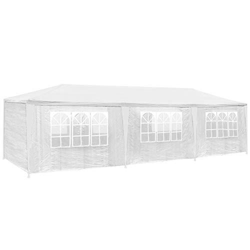 TecTake 800085 Tonnelle Tente Gazebo Pavillon de Jardin d événement pour fête 9x3 m - diverses Couleurs au Choix - (Blanc | no. 400934)