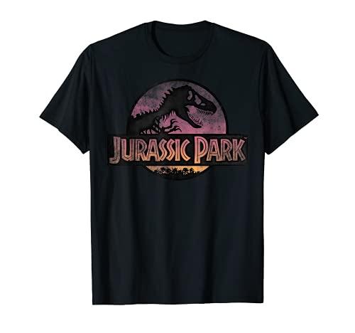 Jurassic Park Gradient Sunset Circle Logo Camiseta