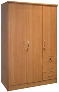 Wooden 3 Door Lock Cabinet, Beige, W120cm x H190cm x D50cm