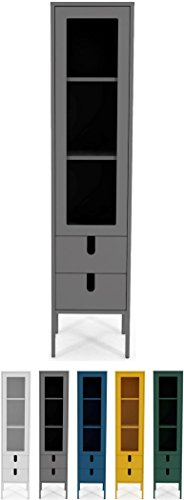 tenzo 8566-014 UNO Designer Vitrine 1 Porte, 2 tiroirs, Gris, MDF Particules ép. 19 et 16 mm Panneau arrière laqué. Poignées en matière Plastique, 178 x 40 x 40 cm (HxLxP)