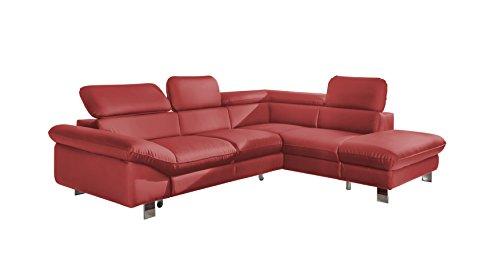 Cotta C365780 Driver Polsterecke Ecksofa, Lederimitat, rot, 266 x 91 x 214 cm, Recamiere rechts, ohne Bettfunktion