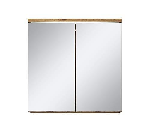 Badezimmer Spiegelschrank Toledo 60 cm – Stauraum Unterschrank Möbel Zwei Türen Weiß Schwarz Sonoma Eiche hell Lefkas Bodega (Braun)